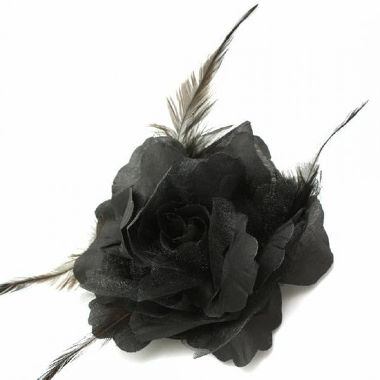 3 in 1 Black Rose Flower Clip