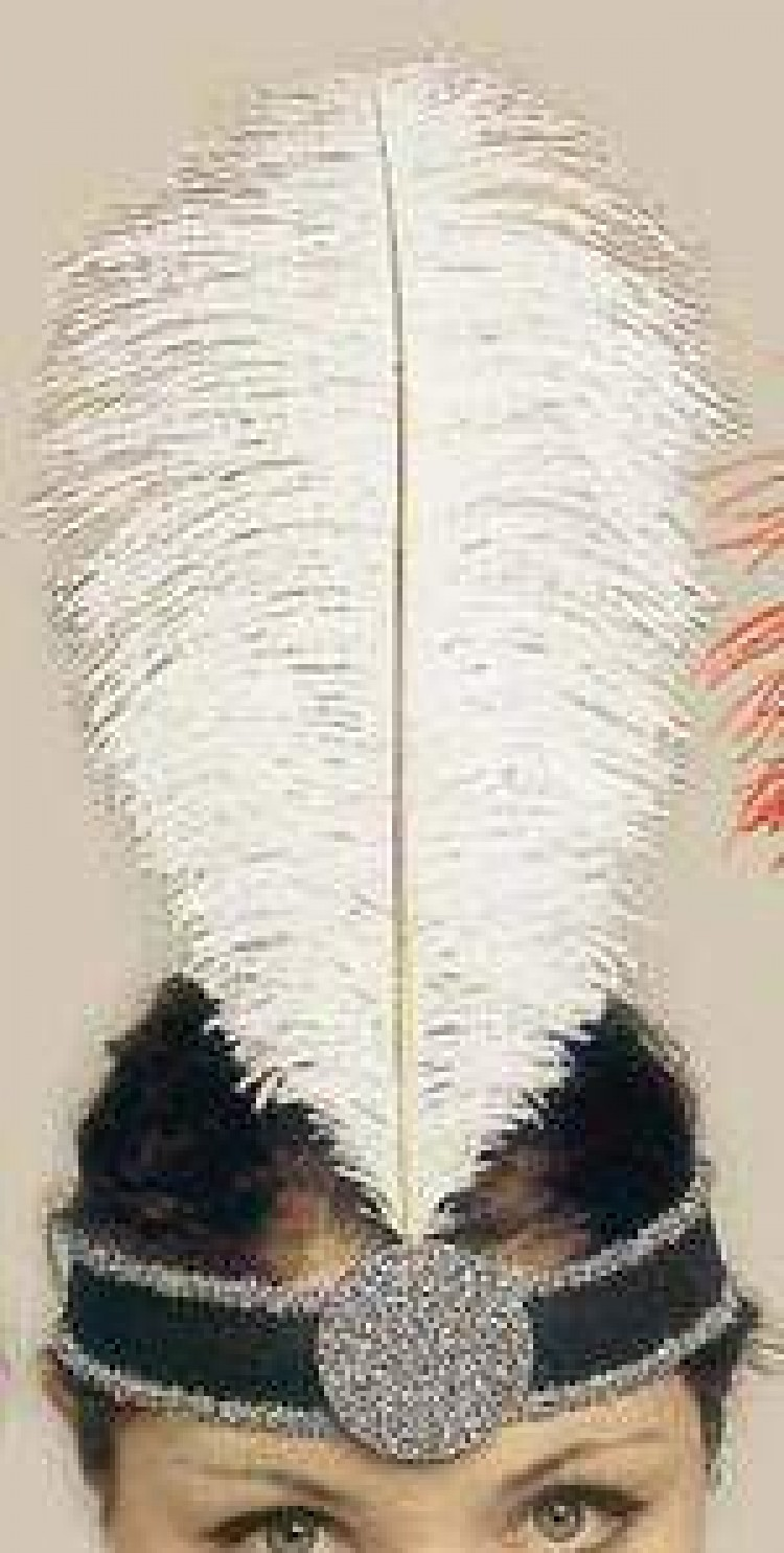 White 1920`s Feather Head Piece.