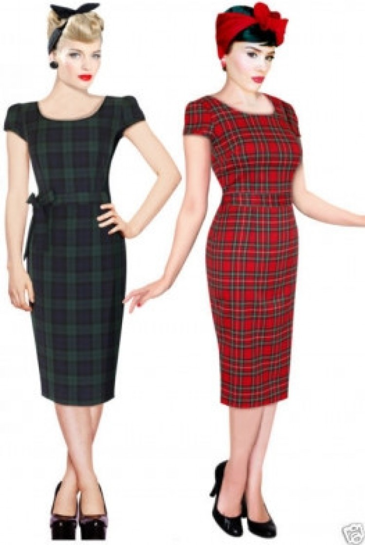 Red Tartan Pencil Dress