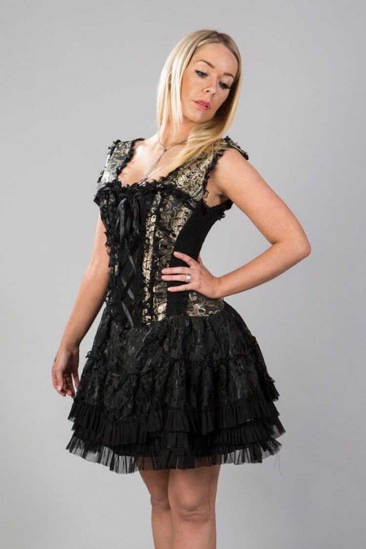 Jasmin burlesque corset dress in gold king brocade