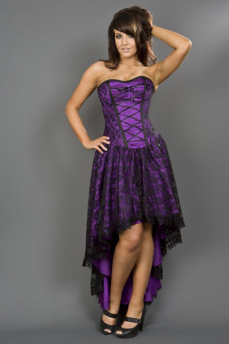 Purple Mollflander Satin & Lace Dress