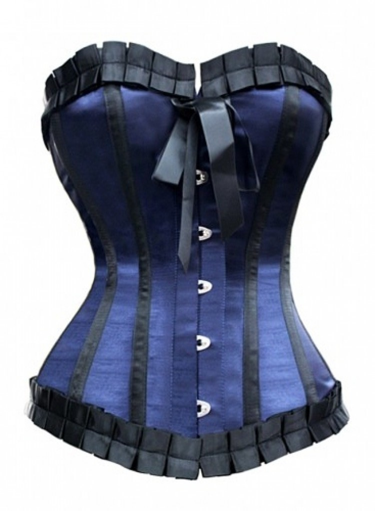 Blue Taffeta Steel Boned Corset