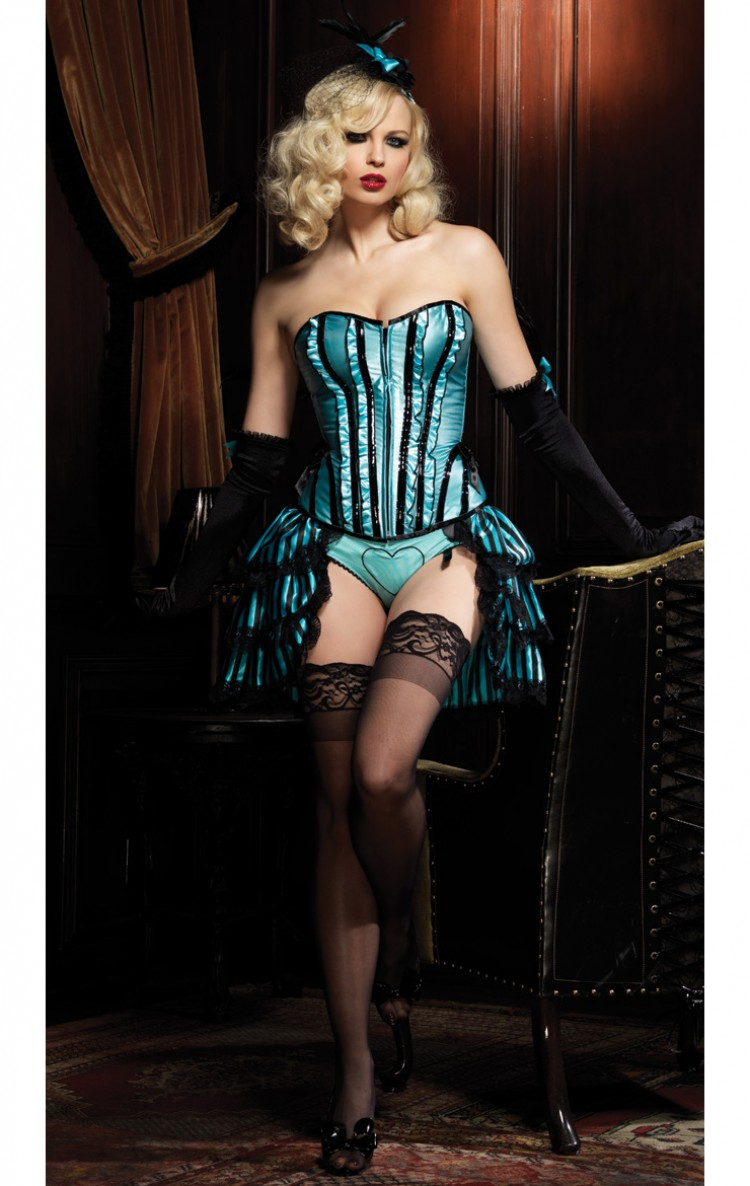 3pc Betty Corset Set in Turquoise