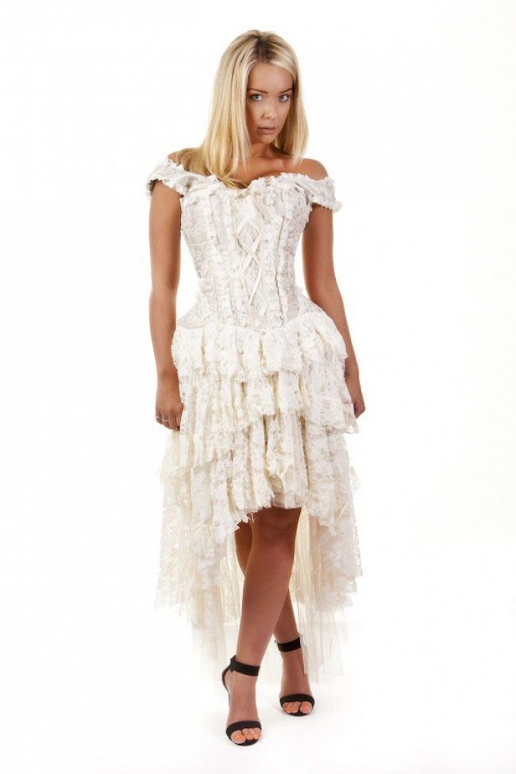 Ophelie Corset Dress In Cream King Brocade