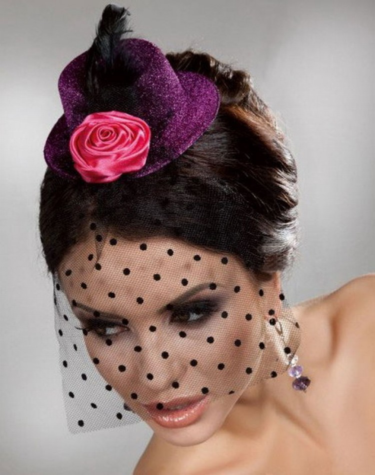 Purple Mini Top Hat With Rose And Net