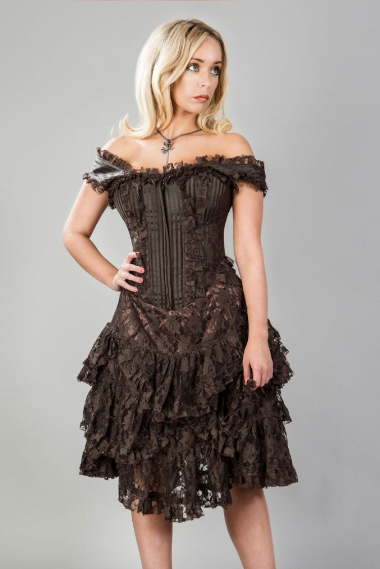 Sophia Steampunk corset dress in Brown stripe brocade