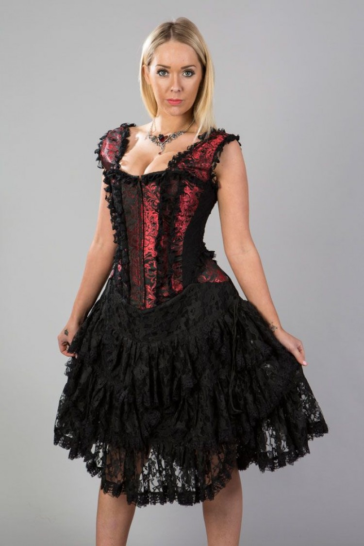 Sophia burlesque corset dress in red king brocade