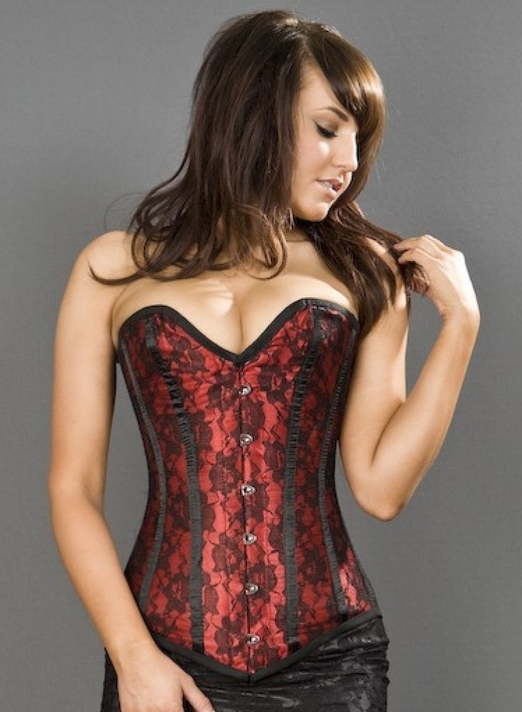 Victorian Red Satin/Black Lace Steel Boned Corset