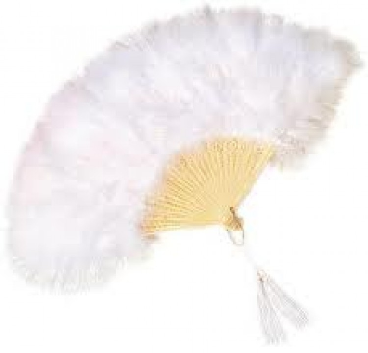 Deluxe White Burlesque Feather Fan