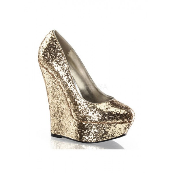 gold luster glitter wedge shoes
