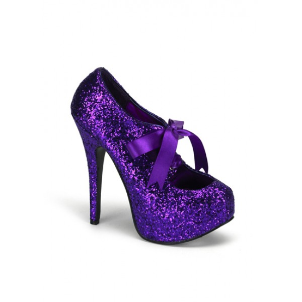 Bordello Purple Glitter Burlesque Platform Shoes