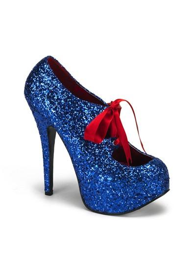 Blue Glitter Bordello Platform Shoes