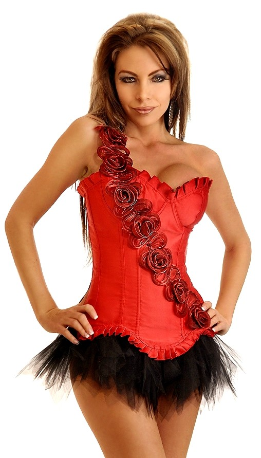 Red Corset Top with Rose Sash and Black Tutu Skirt