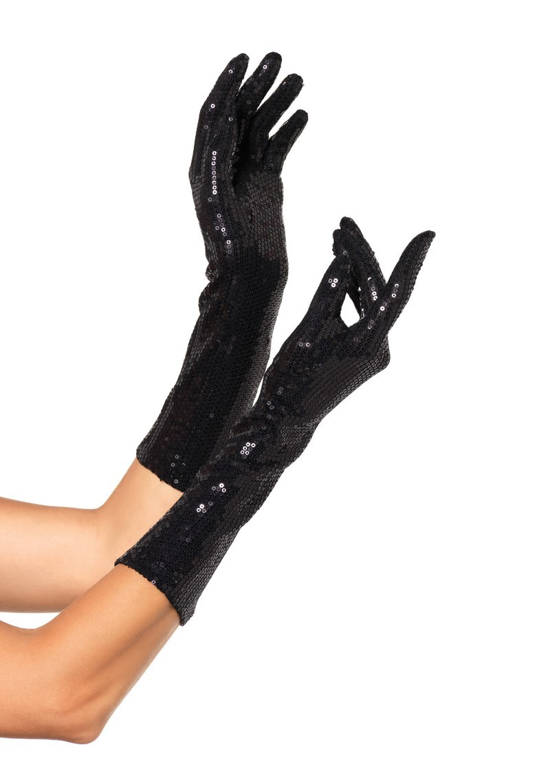Sequin Elbow Length Black Gloves
