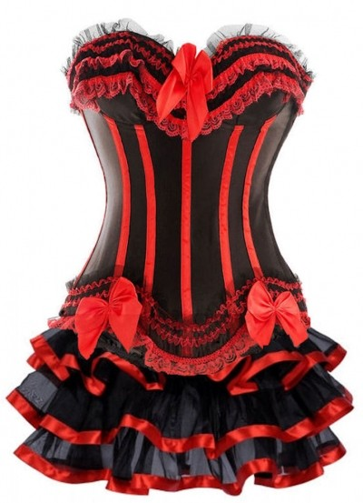 Black and Red Corset Top with Ribbon Burlesque Skirt