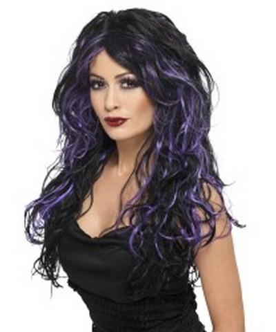 Gothic Bride Wig, Black and Purple