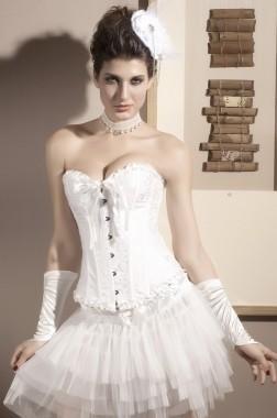 white overbust corset  love burlesque