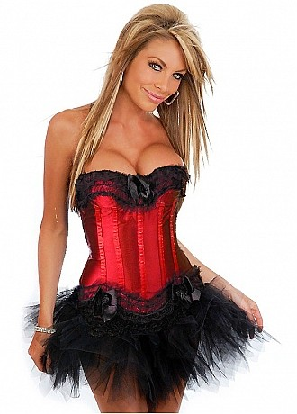 red satin corset top with tulle ruffles and lace with tutu