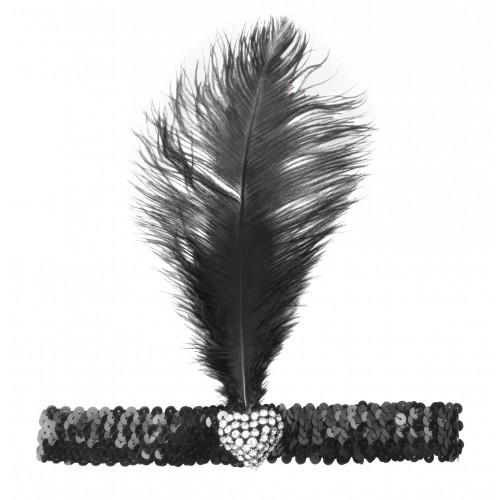 Black Flapper Headband With Crystal Heart