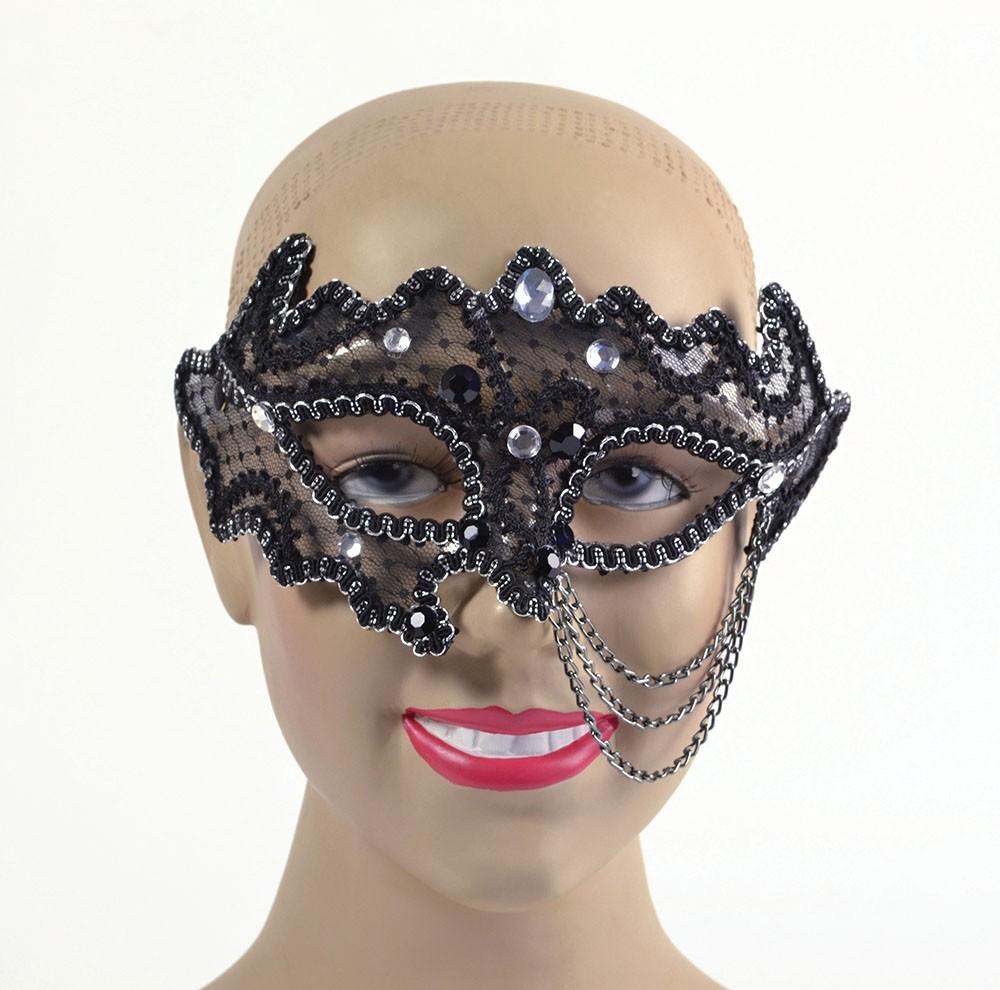 Black Decorative 3/4 Glasses Style Eyemask