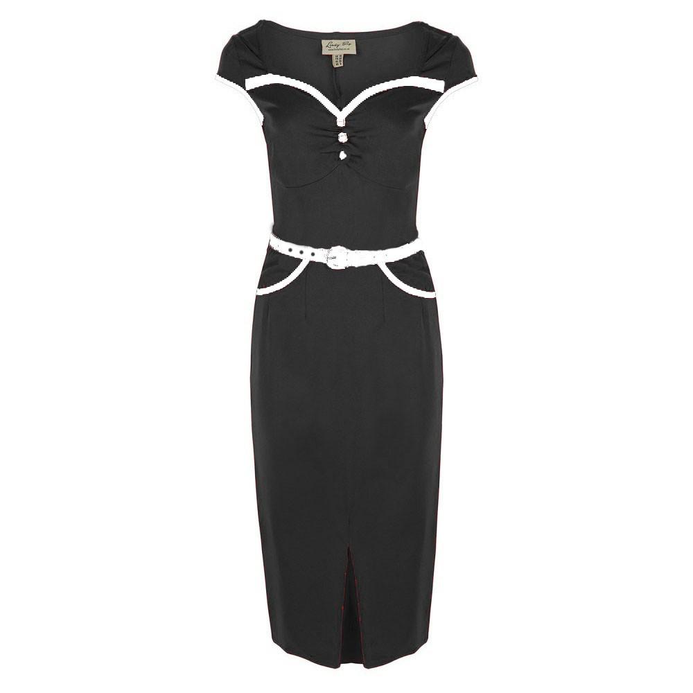 Black Pencil Dress with White Detail