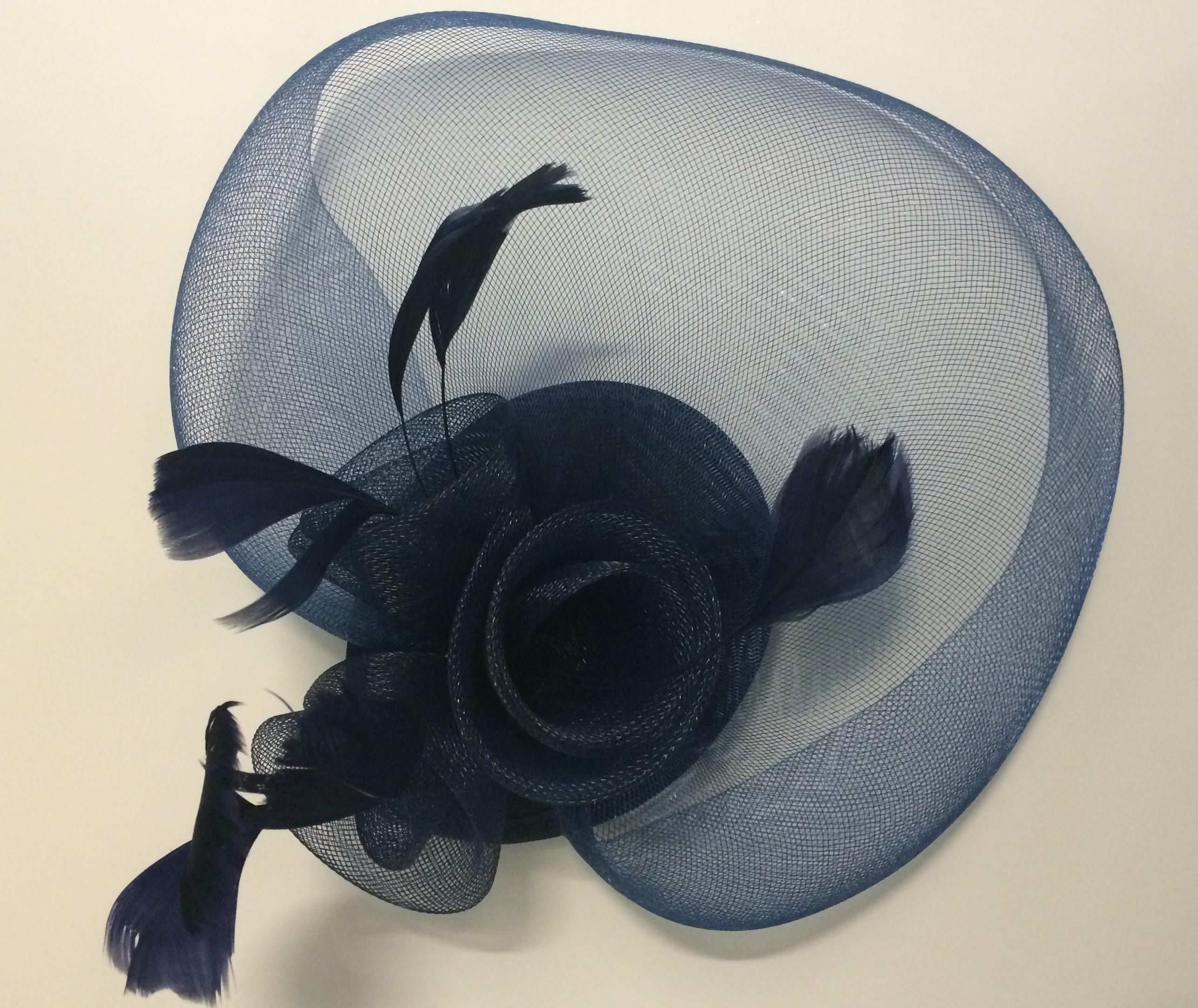 Navy Blue Veiled Fascinator With Headband