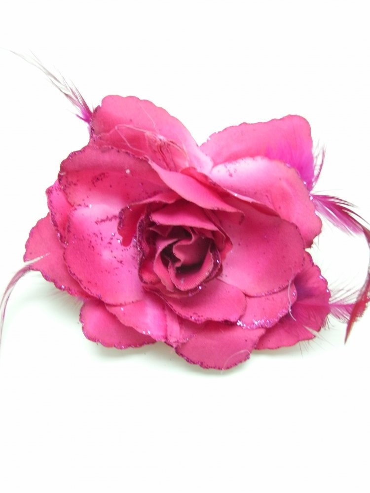 3 in 1 Fucshia Rose Flower Clip