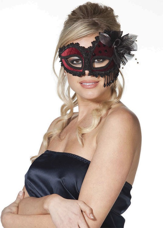 Red & Black Venetian Style Lace Half Mask