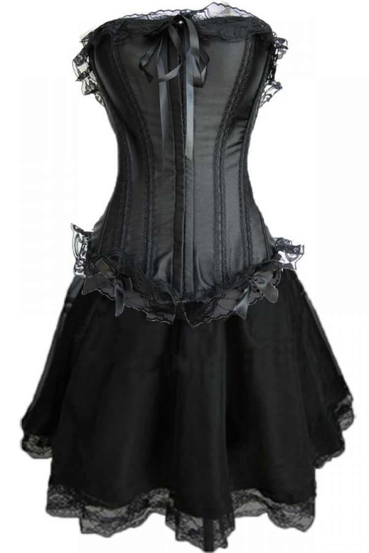 Black Satin and Lace Corset Outfit & Burlesque Skirt