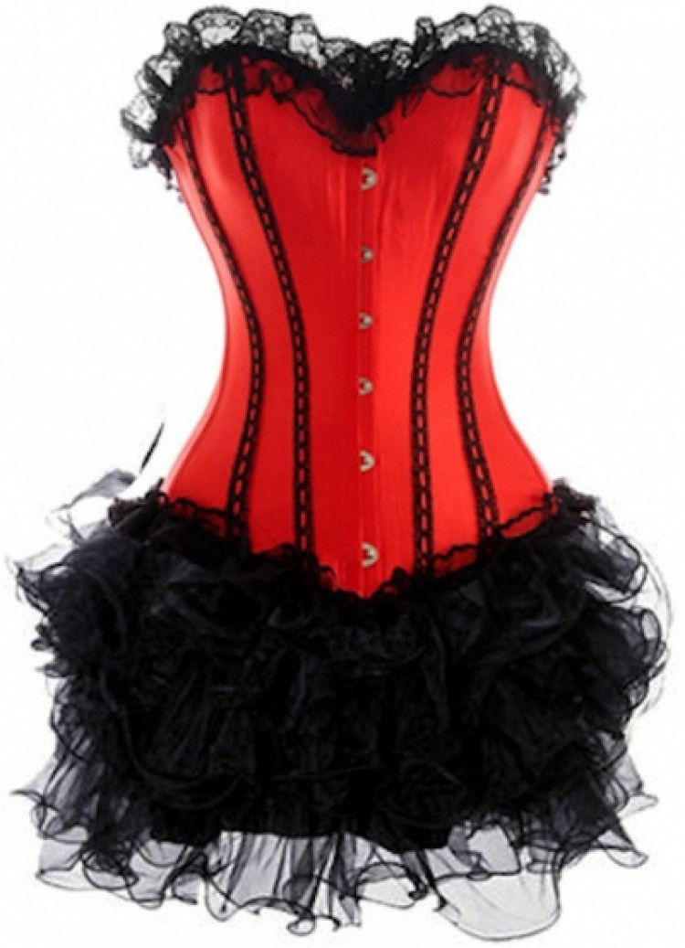 Red Lace-up Corset Outfit & Burlesque Tutu