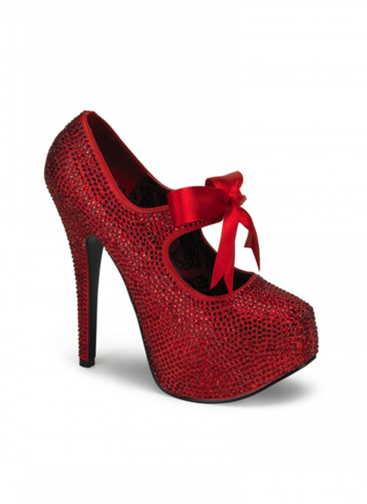 Red Rhinestone Bordello Platform Shoes