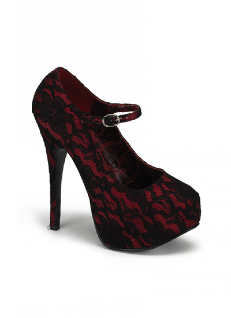 Red Lace Bordello Teeze Shoes
