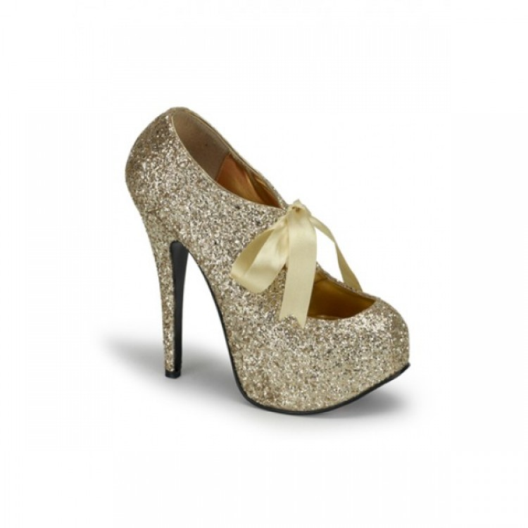 GOLD GLITTER BORDELLO PLATFORM SHOES - Uk 6
