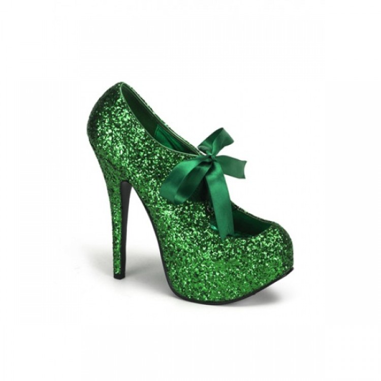 GREEN GLITTER BORDELLO PLATFORM SHOES - Uk 5