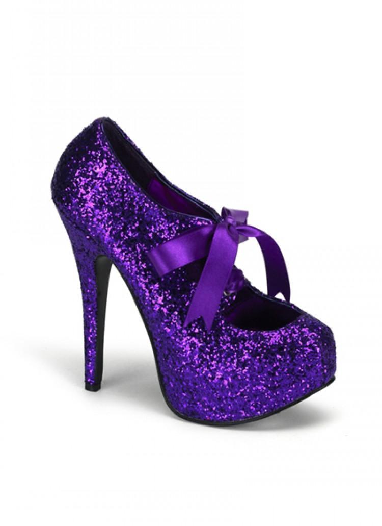 Purple Glitter Bordello Platform Shoes