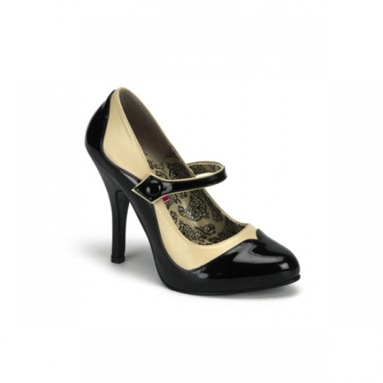 BLACK & CREAM PATENT COURT SHOES - UK 7 & UK 3