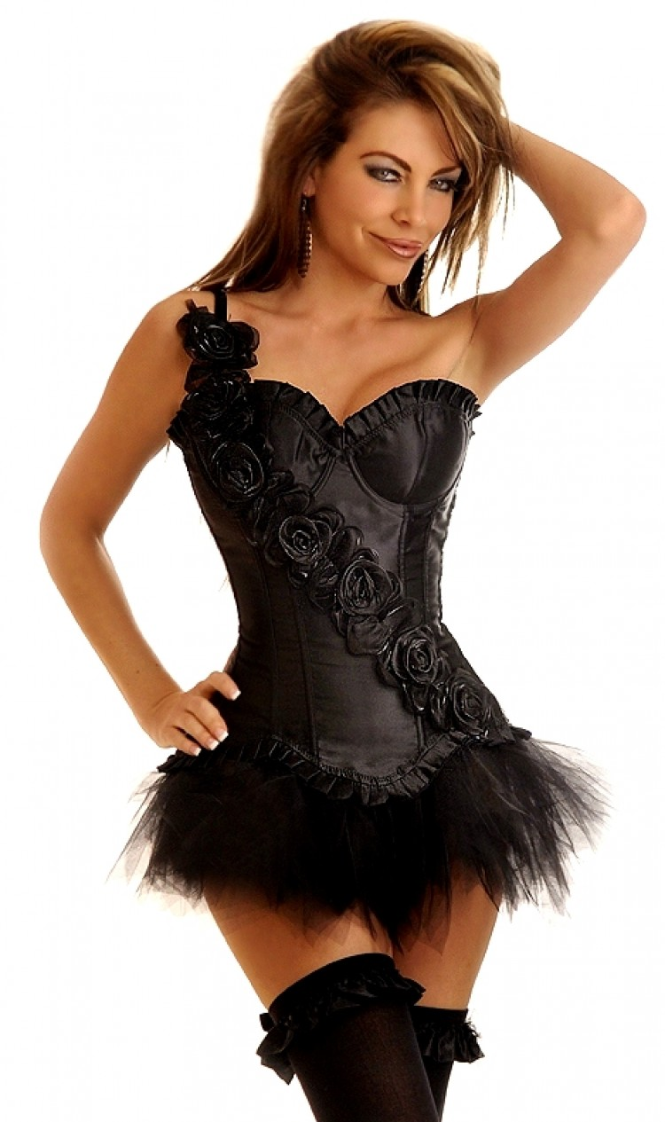 Black Corset Top with Rose Sash and Black Tutu Skirt