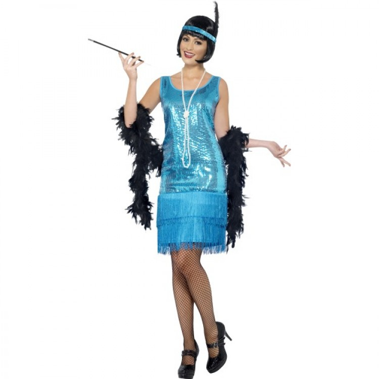 Flirty Flapper Costume In Teal