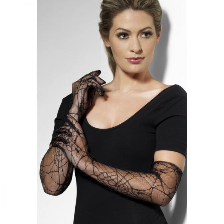 Black Spiderweb Lace Gloves