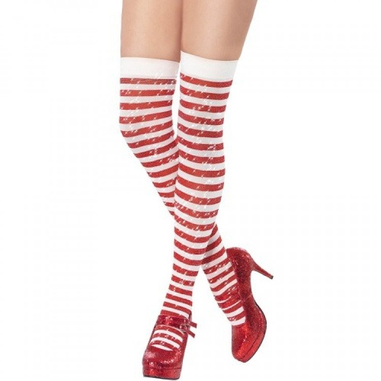Red And White Striped Sparkle Hold Ups