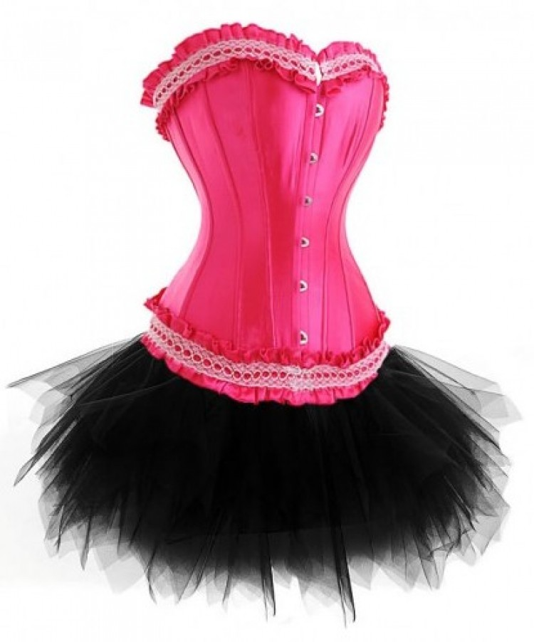 Hot Candy Pink Lace-up Corset Outfit