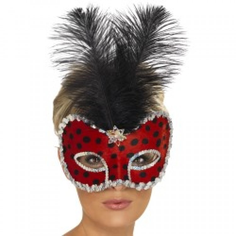 Ladybug Visage Eyemask with Feather