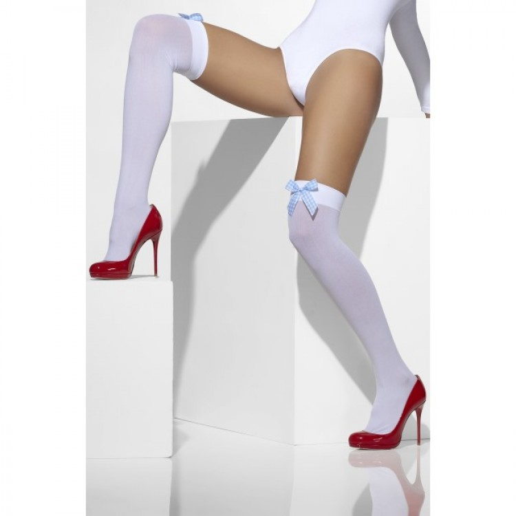 White Opaque Hold Ups With Gingham Bows