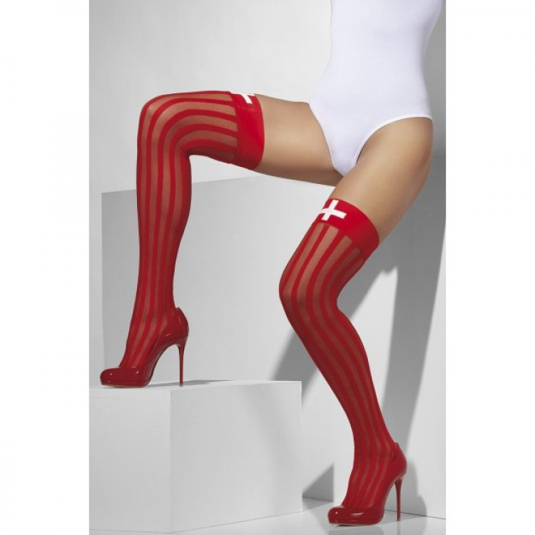 Vertical Stripe Hold Ups In Red With Cross Print