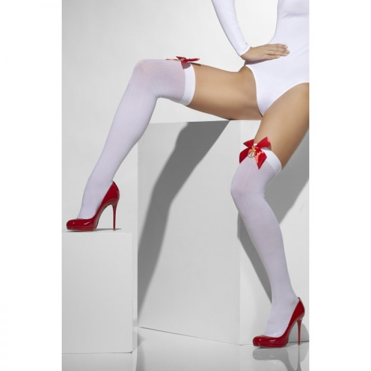 White Opaque Hold Ups with Bows And Anchors