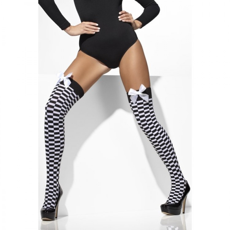 Check Print Opaque Hold Ups with Bows