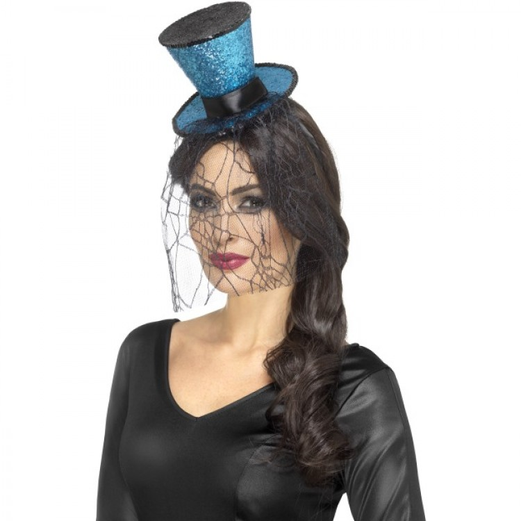 Turquoise & Black Glitter Top Hat With Veil
