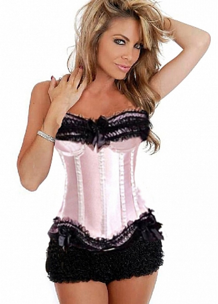 Pink Satin & Tulle Lace Corset Top and Black Bo Peep Shorts