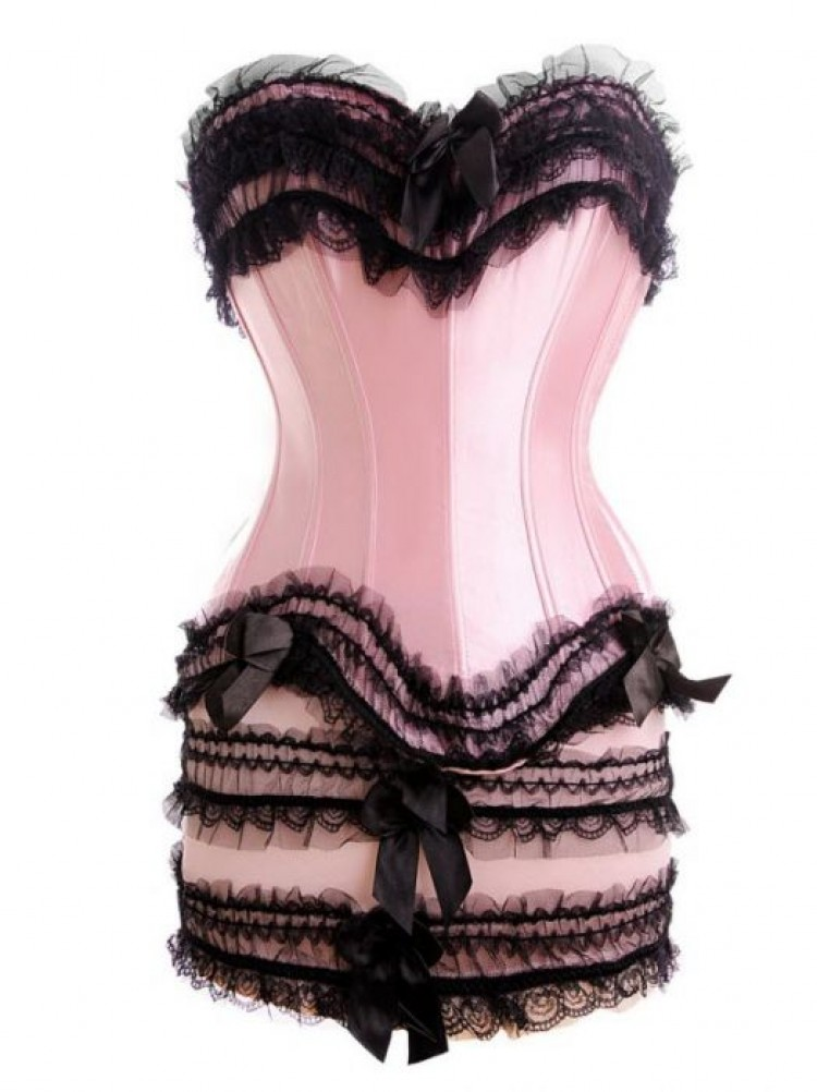 Pink Satin & Tulle Lace Corset Top & Skirt