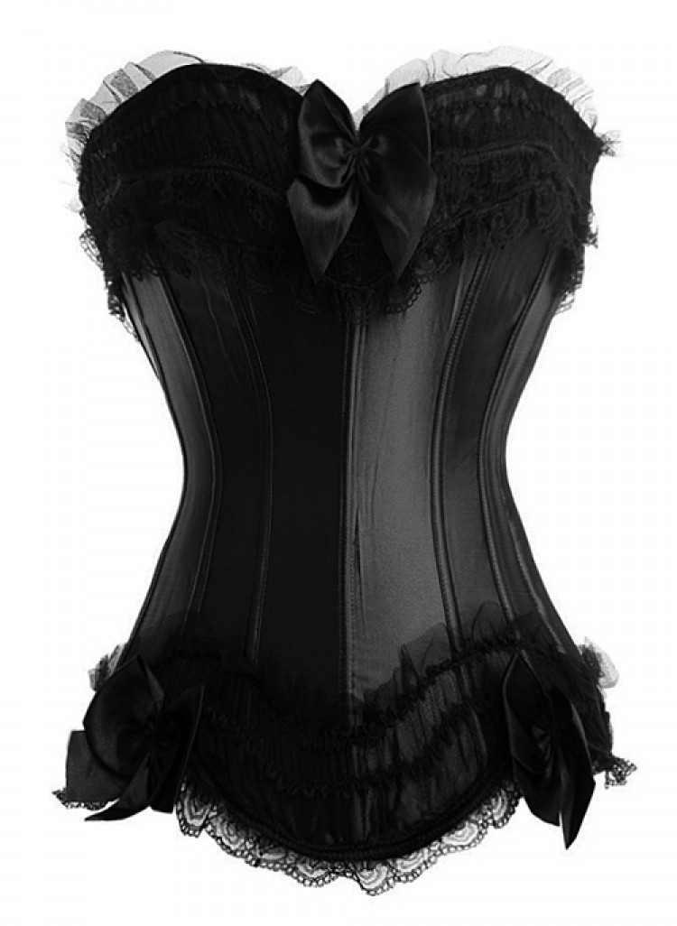 Black Satin Corset Top with Tulle Ruffles and Lace